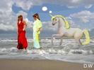 Fantasy Strandspaziergang mit Einhorn